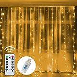 Funpeny Window Curtain String Lights, 300 LED 8 Lighting Modes...
