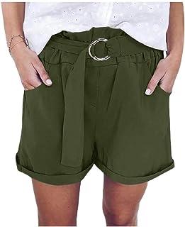 HEFASDM Women's Casual Loose High Waisted Wide Leg Summer Shorts