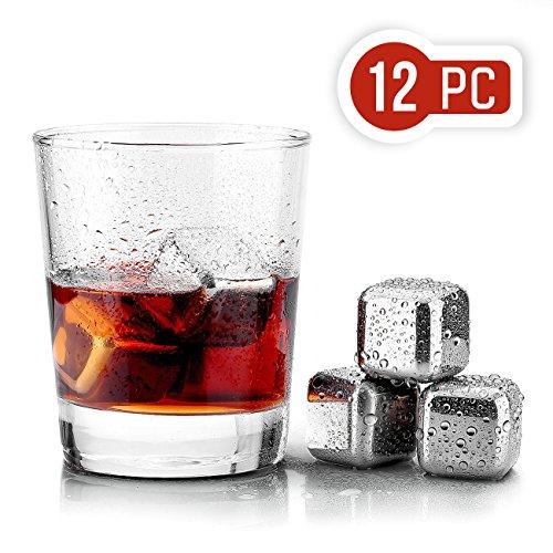 Uten 12PCS Cubos de Hielo Whisky Acero Inoxidable Piedras Cubitos Enfriadores Reutilizables...