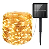AMIR Upgraded Solar String Lights Outdoor, Mini 33Feet 100 LED Copper Wire Lights, Solar Powered Fairy Lights, Waterproof Solar Decoration Lights for Garden Yard Party Wedding Christmas (Warm White)