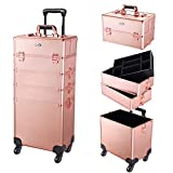 AW 2020 Rose Gold Rolling Makeup Case 4in1 Cosmetic Lockable Trolley Freelance Makeup Artist Travel Train Case Storage