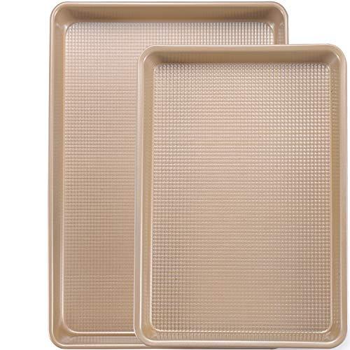 Joho Baking Cookie Sheet Baking Pan Set, Professional Baking Sheet for oven Nonstick, 2 Piece Bakeware Set, 9x13in,10x15in, Gold
