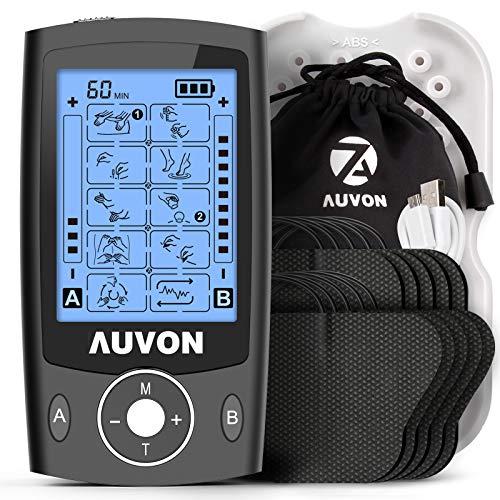 """AUVON TENS EMS Electroestimulador Digital, de doble canal para aliviar el dolor, electroestimulador TENS de unidad con 20 modos, 10 piezas de electrodos premium de 2""""x 2"""" con diseño patentado (negro) 🔥"""