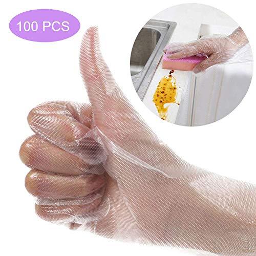 100 PCS Guantes desechables, guantes de vinilo engrosados desechables, guantes de plástico universales transparentes para la limpieza de la cocina, protección contra virus (evitar tocar), alimentos