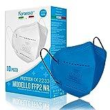KARAEASY Mascherine Ffp2 Celeste Certificate CE Made In Italy 5 strati 10 PZ