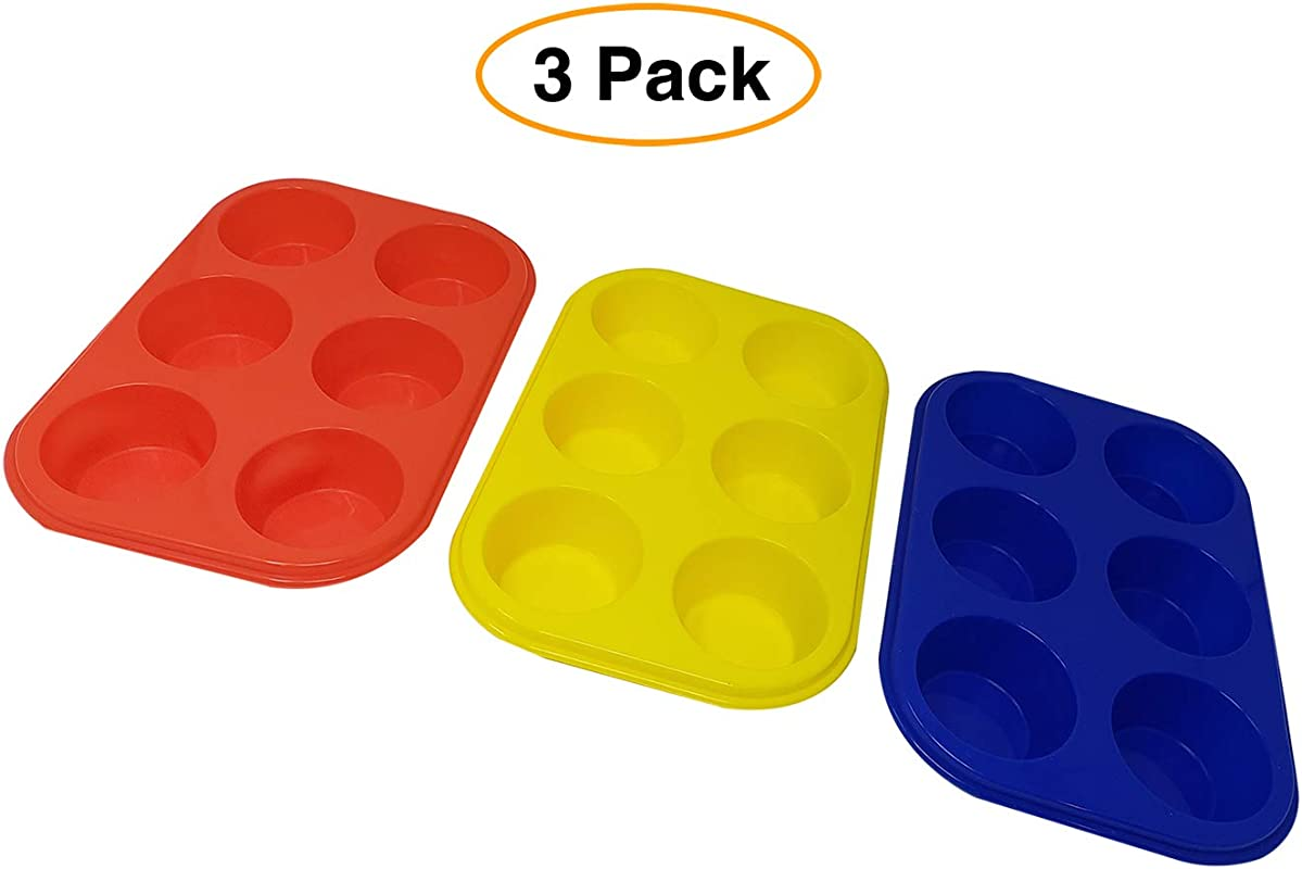 Silicone Muffin Cupcake Trays Baking Pans 3 Pack Non Stick BPA Free Dishwasher Safe 6 Cups Each