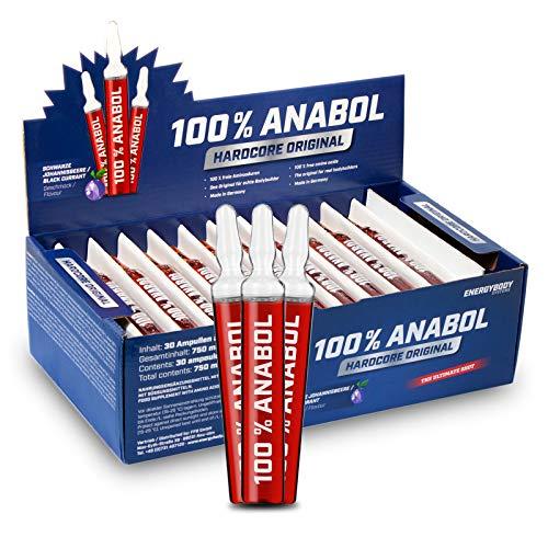 Energybody 100% Anabol flüssige Aminosäuren Ampullen, Liquid für Diät und Muskelaufbau als Nahrungsergänzung, hochdosiert, 30 x 25 ml, schwarze Johannisbeere Geschmack