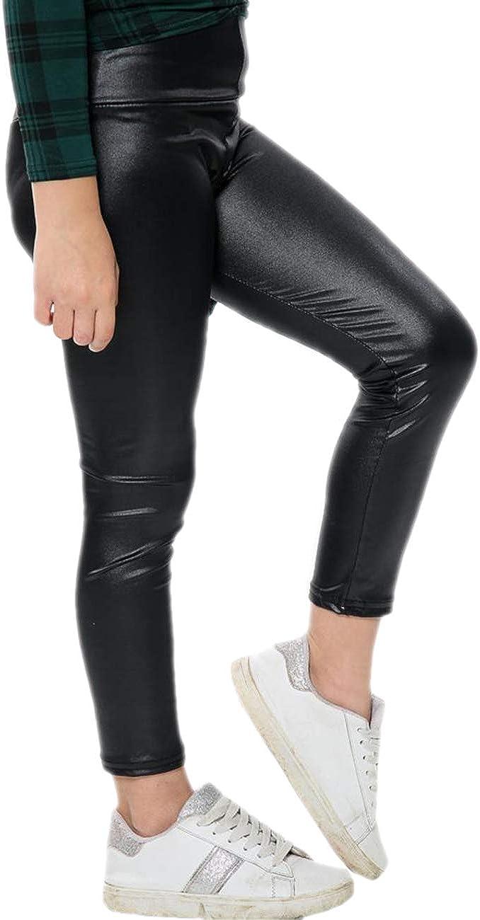 Aelstores Girls Black Shiny Leggings Metallic Wet Look Disco Dance Stretch Pants Partywear
