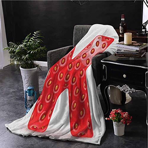 hengshu Letter K Bedding Fleece Blanket Queen Size Fresh Food Strawberry Style Capital K Seasonal Refreshment Design Super Soft Cozy Queen Blanket W70 x L70 Inch Vermilion Green Orange