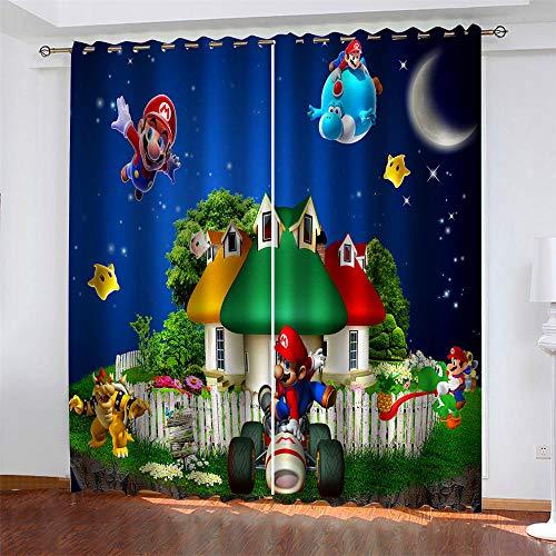 Kind 2er-Set Verdunkelungs Vorhang,Blaue Mario Hütte Kinder Gardinen Ösen Gardine Thermo Polyester Schlafzimmer Vorhänge Dekoratives Muster Européen 160 x 140 cm (HxB)