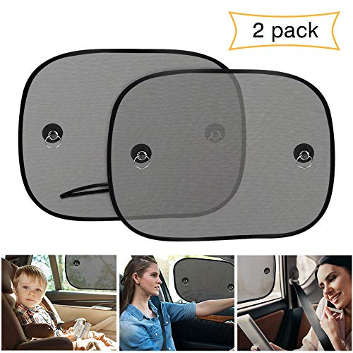 Car Window Shade, UBEGOOD Car Sun Shade for Side Window with Suction Cups, Double-Layer Mesh Block Sun for Baby Kids and Pets, Universal Size - 2 Pack