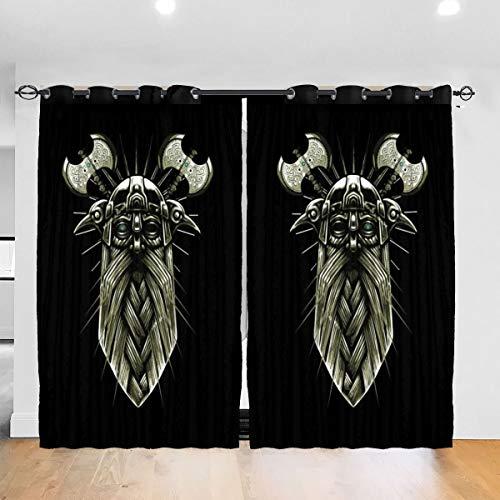 HONGYANW Individuelle Verdunkelungsvorhänge Odin Viking God Mask Ösen Thermoisoliert Raum Verdunkelung Vorhang für Schlafzimmer Wohnzimmer 132 x 183 cm, 2 Paneele