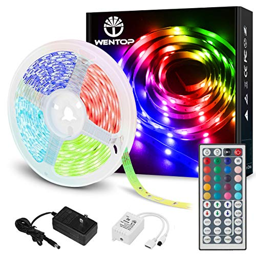 WenTop LEDテープライトSMD 5050両面テープ 5 M非防水 RGB 44 Kコントローラと12 V電源リモートコントロールは、テレビ、天井据え付け品、PC、キッチンに使用される明るい光を導いた