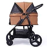 ZISITA Hund Kinderwagen Katze Tasche Haustier Autositzbezug Träger Wagen Wagen Outdoor Walking Shopping Trip Kennel Inner,Messing