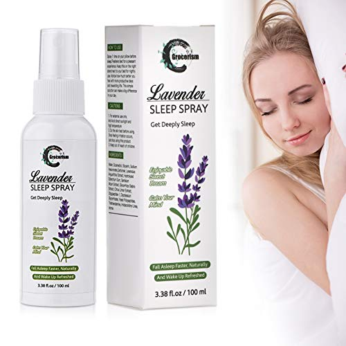 Grocerism Deep Sleep Spray for Pillow and Linen with Lavender Scent for Sleeplessness and Anxiety, Infused with Natural Essential Oil, 3.38 fl oz