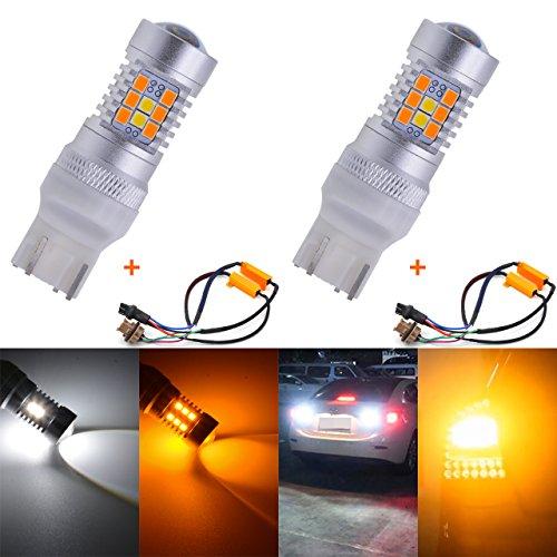 TUINCYN 7443 7444NA 7440 7440NA 7441 992 Indicateurs de Virage sans Erreur à LED CANBUS LightWhite/Amber Feu de freinage avec 50W 8 ohm, résistances de Charge à LED (Lot de 2)