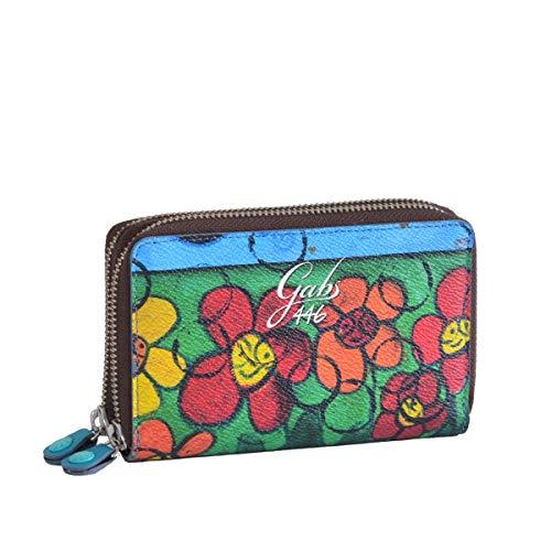 GABS Portafoglio donna Gmoney01 ruga MARGHERITE EcoPelle Pelle portacarte portamonete zip 15x10x3 cm