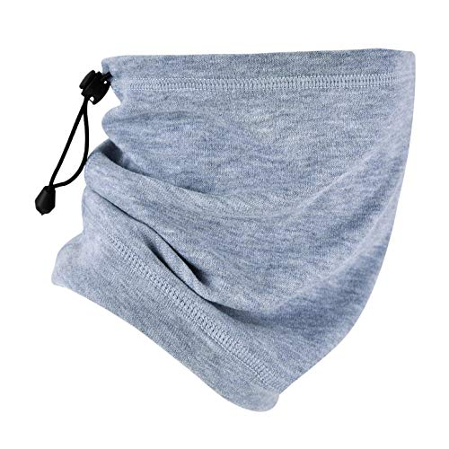 MCTi Neck Gaiter Warmer Winter Fleece Scarves Beanie Hat for Skiing Cycling Elastic Closure Light Blue