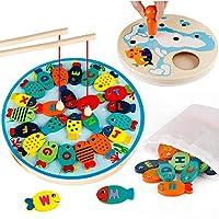 Set di giocattoli da pesca Coogam: il tuo piccolino ama pescare? La scatola decente viene fornita con 26 pezzi di alfabeto in legno magnetico con diversi colori vivaci, 2 pali magnetici, 1 custodia per pesci, 1 x bambola con magnete, plancetta da pes...