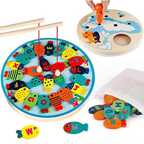 Coogam Hölzern Magnetisch Angeln Spiel Alphabet Brief Magnete Fangen Fisch Tafel Vorschule Lernen Lehrreich Spielzeuge Badezeit Pool Party mit Magnetstangen für Kleinkind Jungen Mädchen