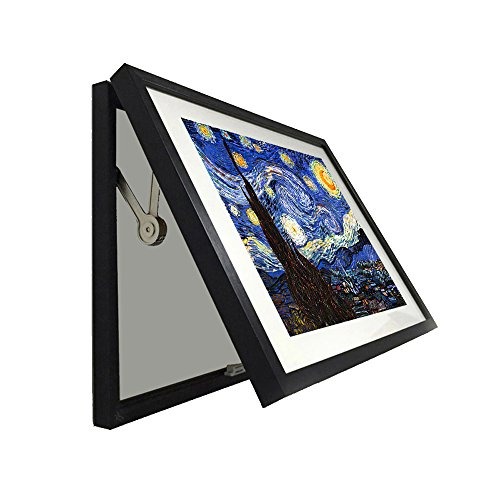 Kreative Arts - Hidden Electrical Switch Box Starry Night Vincent Van Gogh Oil Painting Reproduction Printed on Canvas Classic Art Framed for Wall Decor Easy to Hang (L 27x19inch(68x48cm), Black)