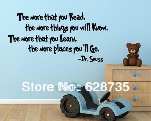 groot formaat te verkopen op ebay,hoe meer dat je lees-verwijderbare vinyl Dr Seuss muurstickers citaat, stickers voor kinderen q0246