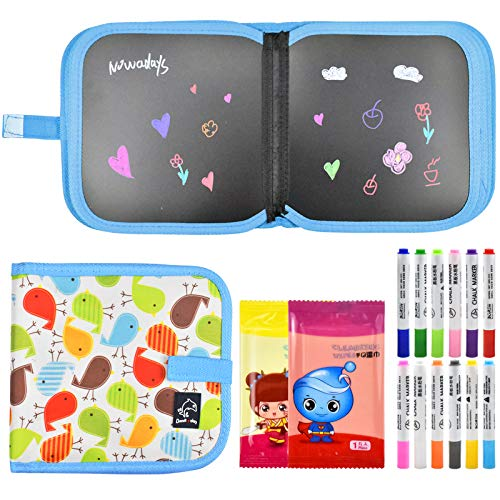 Pinsheng Innovative Tafel, Malbuch für Kinder, 8,6'x 8,6' doppelseitiges Malbrett Tragbares Zeichenbrett für Kinder mit 12 farbigen löschbaren Stiften Lernspielzeug für Kinder (Blau)