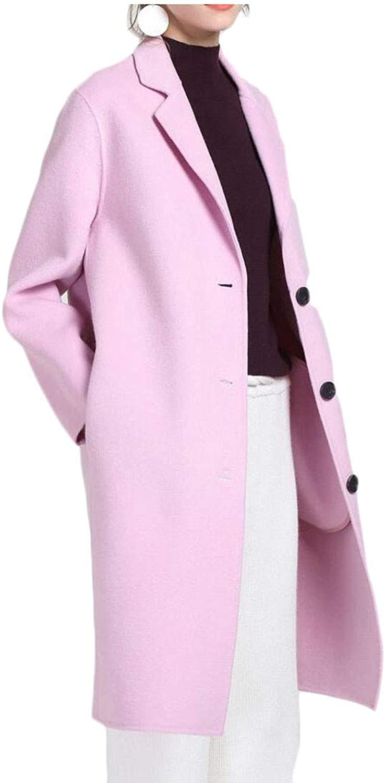 Joe Wenko Womens Lapel Collar Overcoat Loose Vintage WoolBlend Peacoats