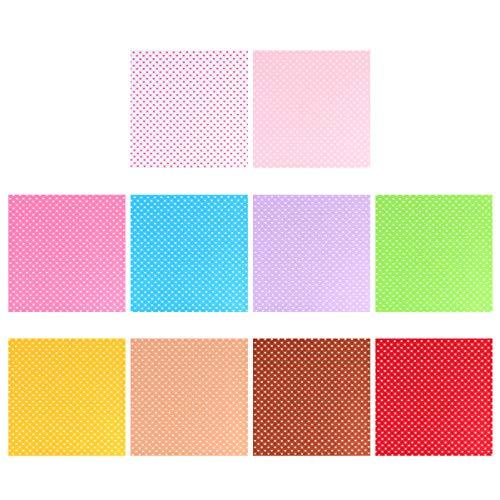 TENDYCOCO 10Pcs Hoja de Tela de Coser 30X30cm Colorida Hoja de Fieltro DIY Tela No Tejida para Suministros de Arte Artesanal (Patrón de Corazón)