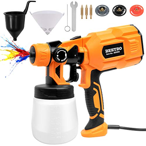 BEETRO High Power Paint Sprayer 3 Copper Nozzles 450ml/min 10pcs 190 Micron Paint Strainers 800ml Container HVLP Electric Paint Spray Gun for Home Easy Spraying and Cleaning, 1.0/1.8/2.5mm