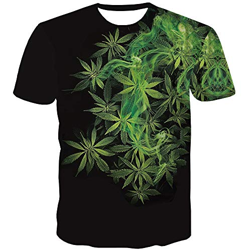 QCIV 3D Pattern Printed T Shirts Psychedelic Weed Shirts for Men Short Sleeve Tee (Large, Green)