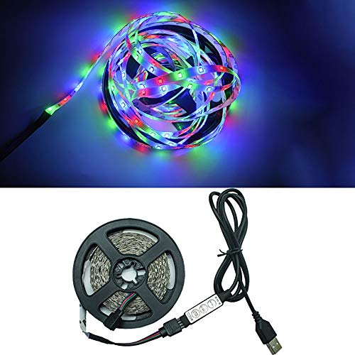 QHQH Luces LED Pilas Lámpara Flexible 1M 2M 3M 4M 5M Diodo De Cinta SMD 2835 DC5V Pantalla De Escritorio TV Iluminación De Fondo Cable USB 3 Control De Teclas