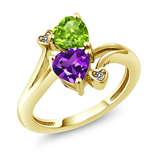 Gem Stone King 1.51 Ct Heart Shape Purple Amethyst Green Peridot 10K Yellow Gold Ring (Size 9)