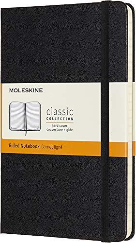 Moleskine - Cuaderno Clásico con Páginas Rayadas, Tapa Dura y Goma Elástica, Color Negro, Tamaño Medio 11.5 x 18 cm, 208 Páginas