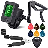 Tuner Clip on Chromatic Guitar Bass Violin Ukulele Include Guitar Capo and Picks and Holder (01 Tuner and black capo)