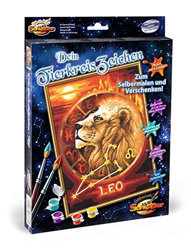 Schipper 609390676 - Malen nach Zahlen - Tierkreiszeichen - Löwe - Bilder malen für Erwachsene, inklusive Pinsel und Acrylfarben, 18 x 24 cm