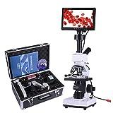 Drohneks Microscopio biológico monocular con Pantalla LCD, Semen observado, ácaros, Ciencia, Laboratorio, acuicultura, Detector de Gotas de Sangre