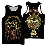 NICEWL Camisetas de Los Hombres Tank Tops 3D Impresos Vikingos Odin Patrón,Thor's Hammer Valknut Símbolo Chaleco Sin Mangas-Camisa Ropa, Unisex Verano Moda Camiseta Tops,B,XXL