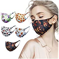5-Pack cnnIUHA Home Washable Halloween Style Printed Face Mask with Elastic Strap Earloop