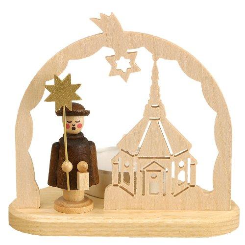 Volkskunstwerkstatt Unger Teelicht Kirchenmotiv mit Kurrende - Original Erzgebirge® #0425