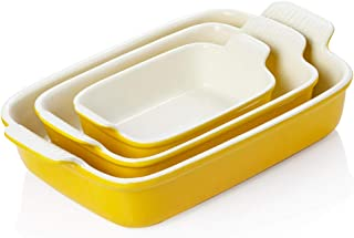 SWEEJAR Porcelain Bakeware Set for Cooking, 13 x 9.8 inch Ceramic Rectangular baking dish Lasagna Pans for Casserole Dish,...