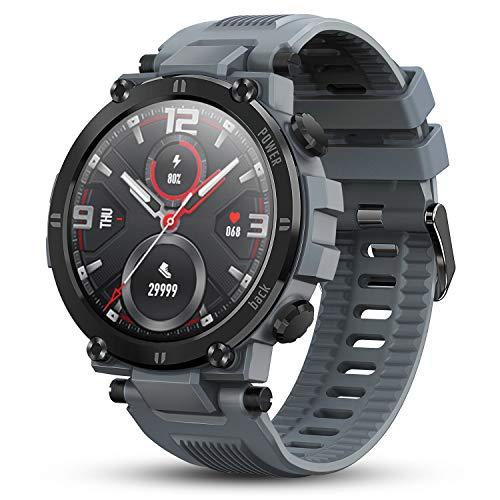 GOKOO Reloj Inteligente Hombres Smartwatch Reloj Deportivo Inteligente Información Notificación Pantalla Táctil Completa Smartwatch Impermeable IP68 Compatible con Android iOS (Gris)