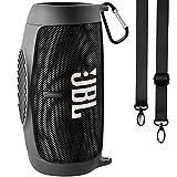 Silikonhülle Tasche für JBL Charge 5 tragbaren Bluetooth-Lautsprecher, Reisegel weiche Haut, wasserdichte Tragetasche aus Gummi mit Riemen(Schwarz)