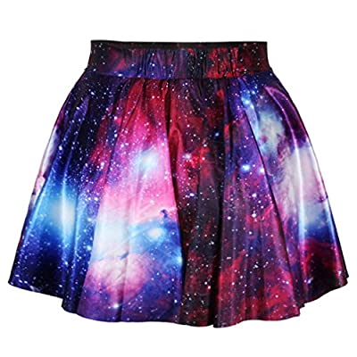 JJEUWE Womens Digital Print Stretchy Flared Pleated Casual Mini Skater Skirt