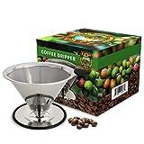 Java Planet - Gotero de cono de café - Filtro reutilizable de acero inoxidable de una sola taza portátil de goteo