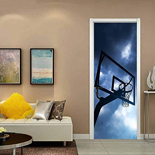 Pegatinas murales para puertas, restaurante de jardín de infantes, restaurante, cafetería, decoración del hogar de oficina, extraíble y autoadhesivo, aro de baloncesto