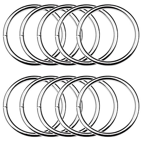 suaywo 10 Piezas Anillos Tóricos de Hierro 50 mm Anillas Metalicas Soldadas Metal O-Rings Anillos para Bolsa,Correas de Hebilla,Cinturones, Conexión de Cesta,Decoración de Vestuario
