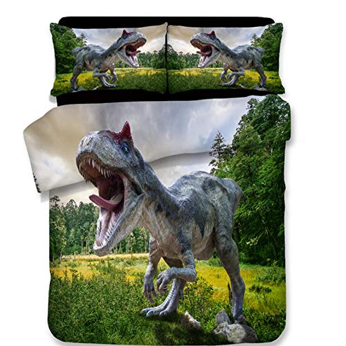 PANDAWDD Funda Nórdica Conjunto De Tamaño Mediano 3D Dinosaurio del Bosque 3D/180X220cm Estampado Juego De Cama 3 Piezas Funda Hipoalergénica De Tejido De Microfibra para Niños Adolescentes