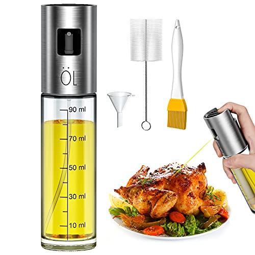 Pulverizadores de Aceite 100 ml, Pulverizador Aceite con Cepillos de Embudo, Aceitera Spray para Cocinar, Pasta, Ensalada, Barbacoa
