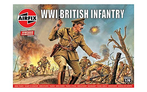 Airfix A00727V 1:76 WWI Soldier Figures 1:72nd Scale Military Figurine, (Pack of 48), Multicolor